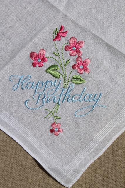 Vintage Embroidered Hankies Happy Birthday Amp Thank You