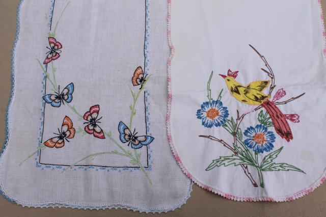 Vintage Embroidered Linens Towels Amp Table Runners W