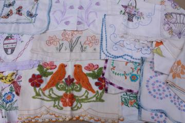 vintage embroidered linens, towels & table runners w/ embroidery - flowers, birds, butterflies