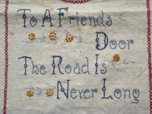 vintage embroidered mottos, lot of old cross-stitch samplers for framing