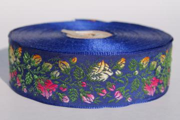 vintage embroidered satin ribbon sewing trim, roses floral pink & yellow on navy blue