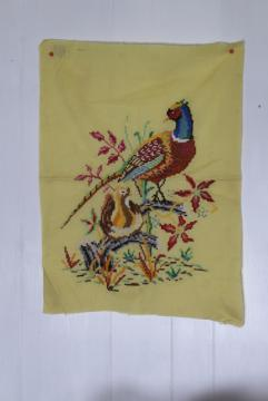 vintage embroidered wall hanging picture, pair of pheasants, rustic game birds