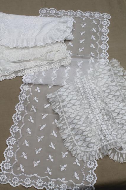 Vintage Embroidered White Nylon Dresser Scarves Cottage