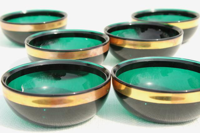 vintage emerald green glass bowls w/ wide gold band, Colonial candles new old stock