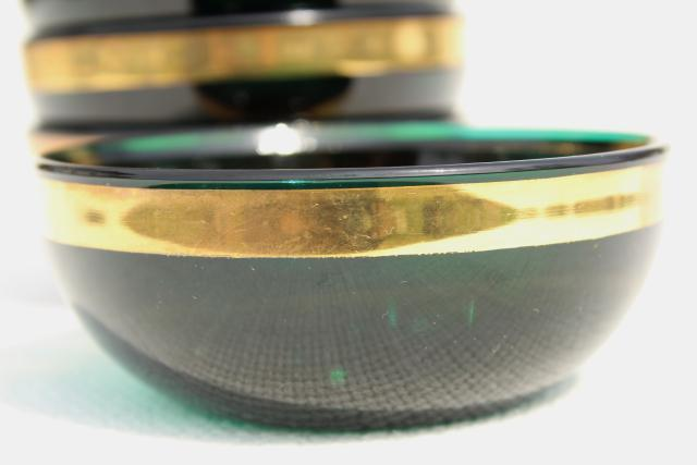 vintage emerald green glass bowls w wide gold band colonial candles new old stock