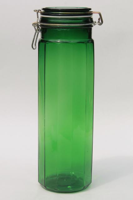 Vintage Emerald Green Glass Kitchen Canister, Tall Spaghetti Jar, 80s Retro