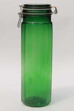 Exceptional Vintage Emerald Green Glass Kitchen Canister, Tall Spaghetti Jar, 80s Retro