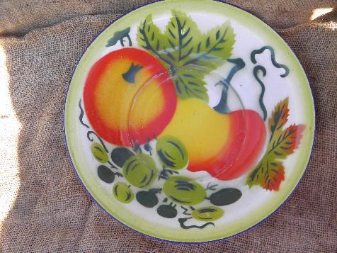 Vintage Enamel Kitchen Utility Bowl Painted W Bright