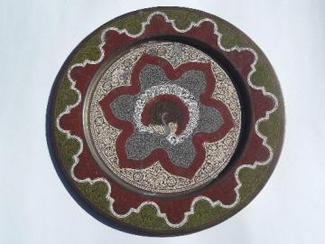 vintage enameled brass India peacock plate or serving tray
