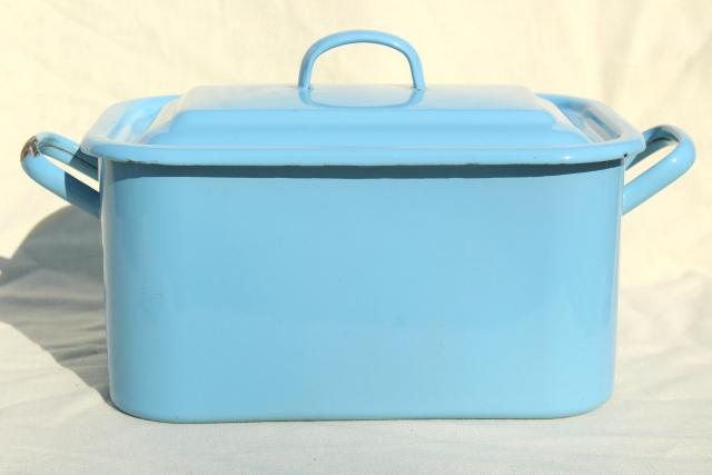 Vintage Enamelware Breadbox French Blue Enamel Metal Bread