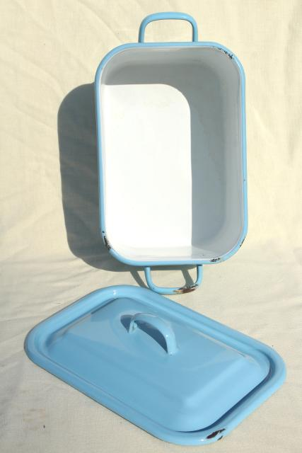 vintage enamelware breadbox french blue enamel metal bread bin box w/ lid