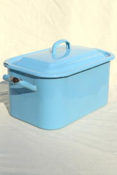 vintage enamelware breadbox french blue enamel metal bread bin box w/ lid
