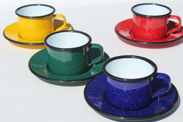 vintage enamelware camp coffee cups, red, blue, green, yellow graniteware