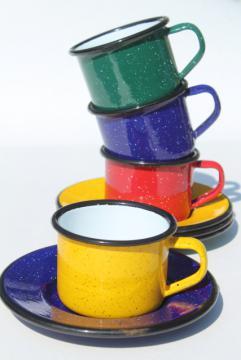 vintage enamelware camp coffee cups, red, blue, green, yellow graniteware