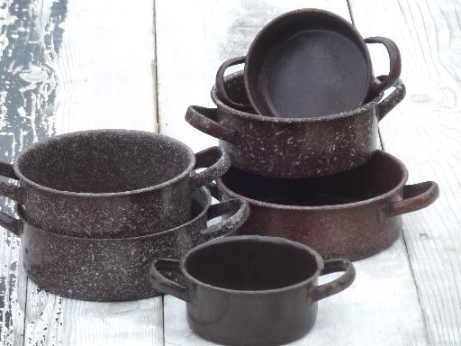 vintage enamelware camp cookware lot, brown graniteware ...