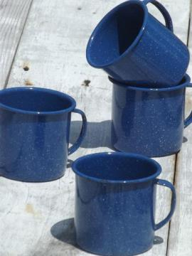 vintage enamelware camp cups, blue & white spatter graniteware coffee mugs