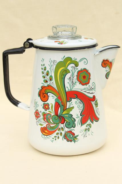 vintage enamelware coffee pot, Berggren Swedish folk art green & red rosemaling design