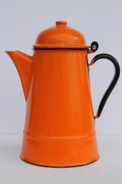vintage enamelware coffee pot, big orange enamel coffeepot, 60s 70s retro