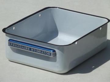 vintage enamelware kitchen bin, old Frigidaire refrigerator storage box