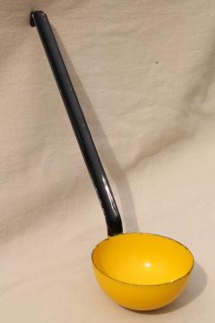 vintage enamelware ladle / dipper, Scandinavian modern yellow & black enamel