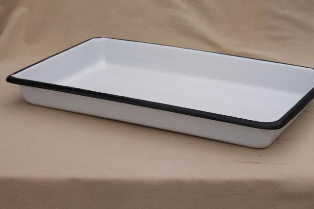 vintage enamelware, large heavy enamel medical lab / industrial tool tray