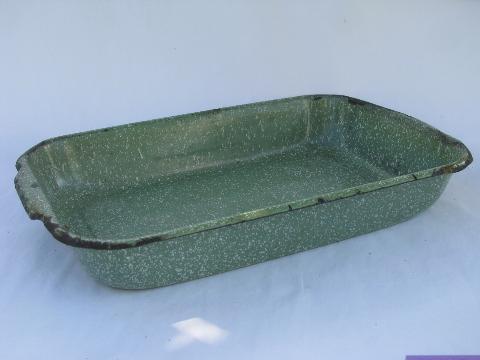 Vintage Enamelware Lot Old Green Speckled Baking Pan