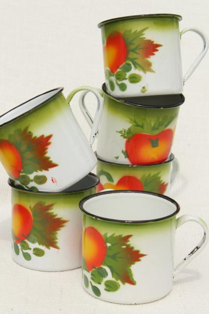 vintage enamelware mugs or camp kitchen cups, bright colored fruit & white enamel