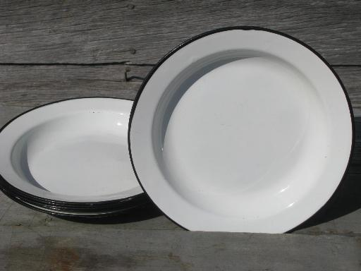 Vintage Enamelware Plates Set Of 6 White W Black Band