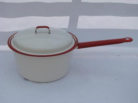 vintage enamelware pots pans lot white w red band stockpot big saucepan. Black Bedroom Furniture Sets. Home Design Ideas