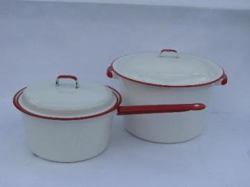 vintage enamelware pots & pans lot, white w/ red band stockpot, big saucepan