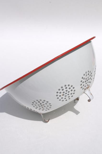 vintage enamelware, red trim white enamel colander strainer bowl & roasting pan