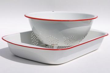 vintage enamelware, red trim white enamel colander strainer bowl & roasting pan