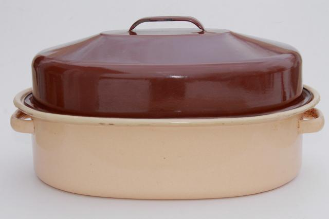 vintage enamelware roasting pan, big old brown & tan enamel turkey roaster