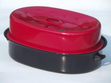 vintage enamelware roasting pan, huge red & black roaster for turkey or goose