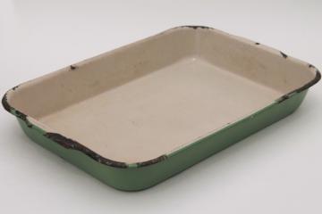 vintage enamelware roasting pan or baking dish, Cream City jadite green & tan