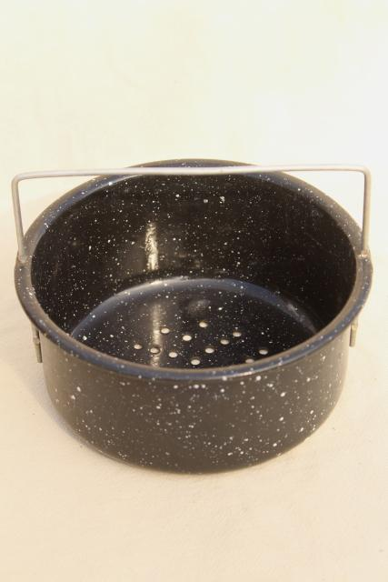 vintage enamelware strainer, colander basket w/ wire handle, black & white speckled enamel