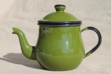 vintage enamelware teapot, little green enamel pot for a cup or two of tea