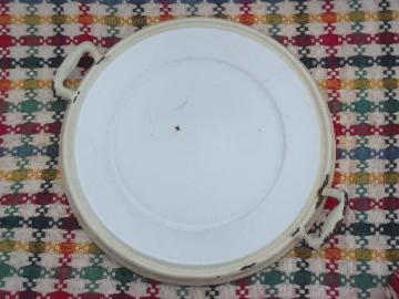 vintage enamelware tray, round trivet w/ handles old cream and white enamel