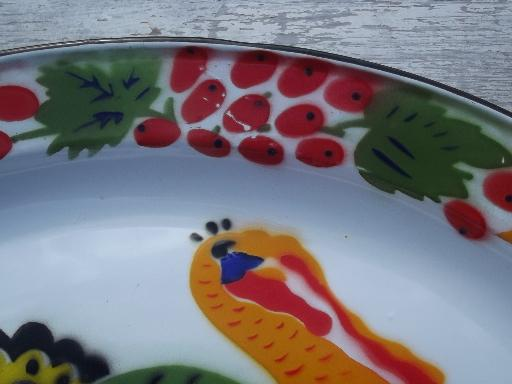 vintage enamelware turkey platter, large tin tray for Thankgiving