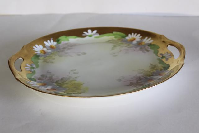 vintage encrusted gold & hand painted daisies floral serving plate or dresser tray