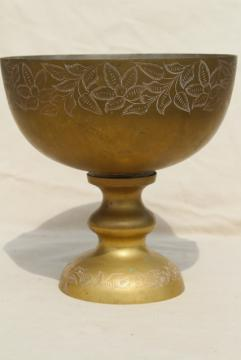 vintage etched brass punch bowl, large chalice shaped pedestal vase or fruit dish