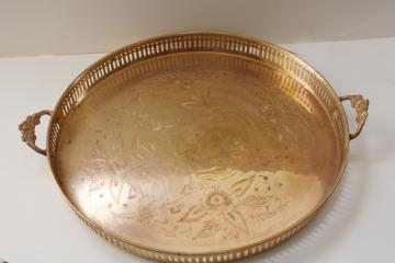 vintage etched brass serving tray, bar cart cocktail tray hollywood regency bohemian style!
