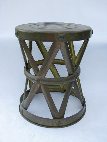 vintage etched brass tray table w/ solid brass campaign stool base, coffee table size