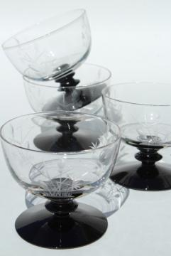 vintage etched cut glass cocktail glasses, black stem & foot, crystal clear bowl