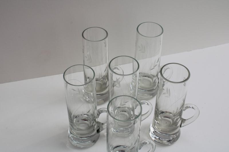 vintage etched cut glass shooters, tall shot glasses w/ handles weighted bottom shots