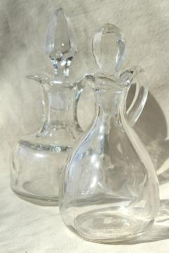 vintage etched glass cruet bottles, mismatched cruets, oil & vinegar pitchers
