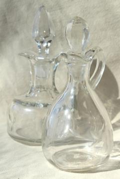 vintage etched glass cruet bottles, mismatched cruets, oil & vinegar pitchers