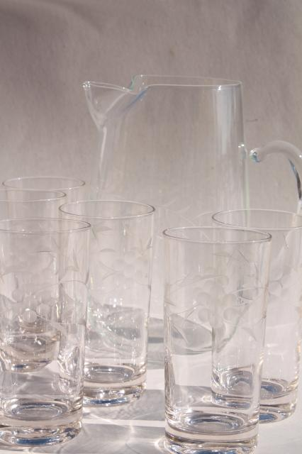 vintage etched glass iced tea or lemonade set, pitcher & tall tumbler glasses