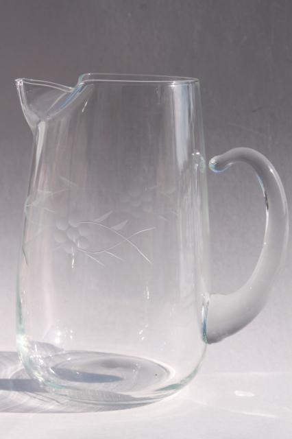Vintage Etched Glass Iced Tea Or Lemonade Set Pitcher