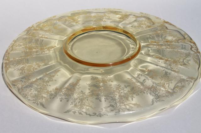Vintage Etched Glass Torte Plate Topaz Yellow Depression